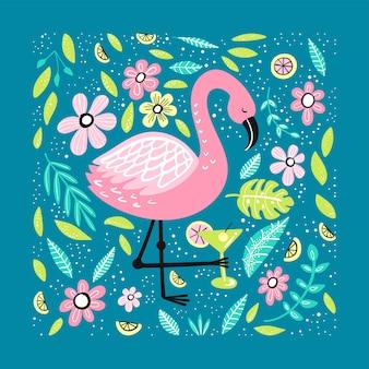 Netter flamingo mit von hand gezeichneten elementen.