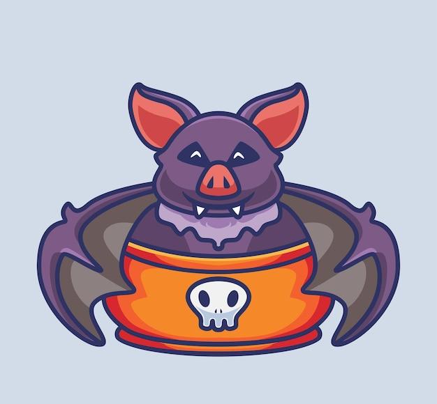 Netter fledermaus-vampir auf der schüssel isolierte cartoon-tier-halloween-illustration flat