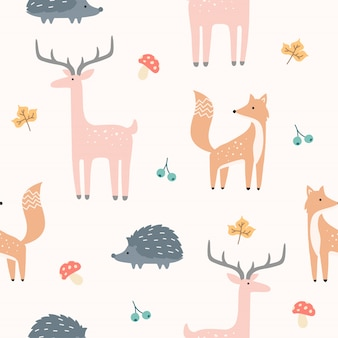 Netter forest animal seamless pattern für tapete