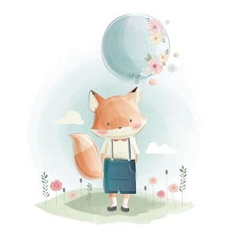 Netter foxy, der einen ballon hält