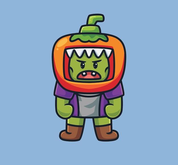 Netter frankenstein, der ein kürbiskostüm trägt. isolierte cartoon-halloween-illustration. flacher stil geeignet für sticker icon design premium logo vektor. maskottchen-charakter