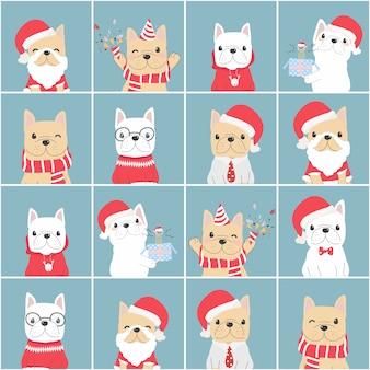 Netter französischer bulldoggen-weihnachtsflachstilblock