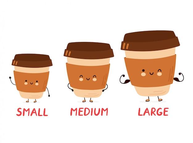 Netter fröhlicher lustiger kaffee kleine, mittlere und große tassen