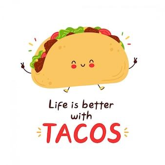 Netter fröhlicher lustiger taco. hand gezeichnete artillustration der zeichentrickfigur