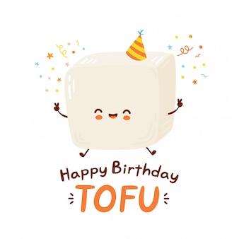 Netter fröhlicher lustiger tofu. zeichentrickfigur der zeichentrickfigur. auf weißem hintergrund isoliert. alles gute zum geburtstagskarte