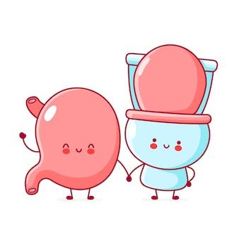 Netter fröhlicher lustiger toiletten- und magencharakter.
