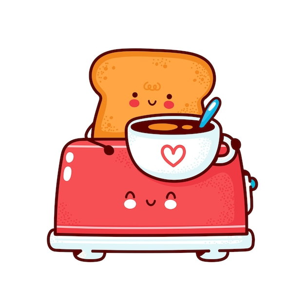 Netter fröhlicher toast mit kaffeetasse im toaster. flache linie karikatur kawaii zeichensymbol. hand gezeichnete artillustration. auf weißem hintergrund isoliert