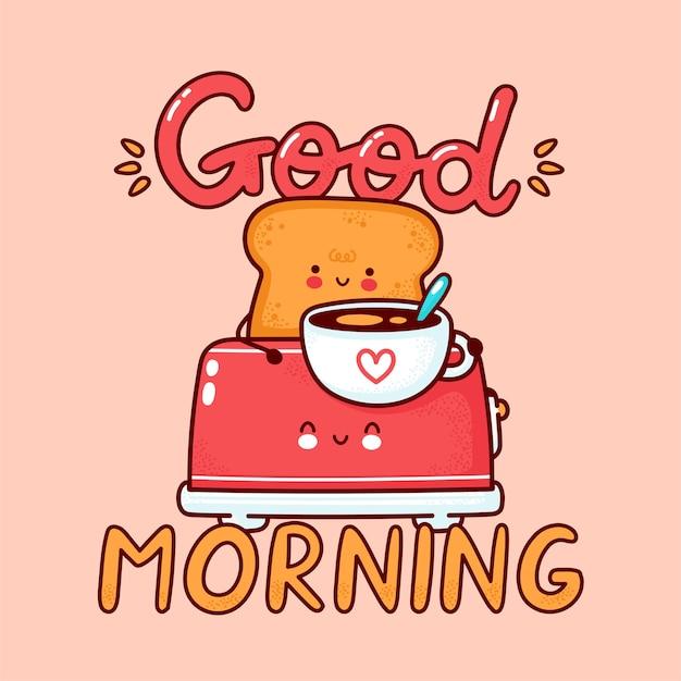 Netter fröhlicher toast mit kaffeetasse im toaster. flache linie karikatur kawaii zeichensymbol. hand gezeichnete artillustration. guten morgen karte, toast mit kaffeeplakatkonzept