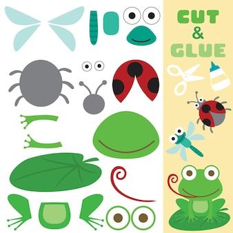 Netter frosch, der auf lotusblatt mit libelle und marienkäfer sitzt. papierspiel für kinder. ausschnitt und kleben.