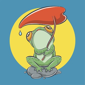 Netter frosch, der blattkarikaturikonenillustration hält