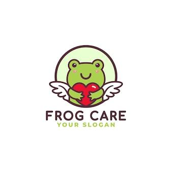 Netter frosch, der herz-pflege-logo umarmt