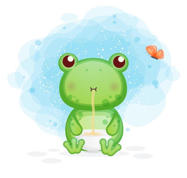 Netter frosch essen nudelkarikaturillustration. tiernahrung