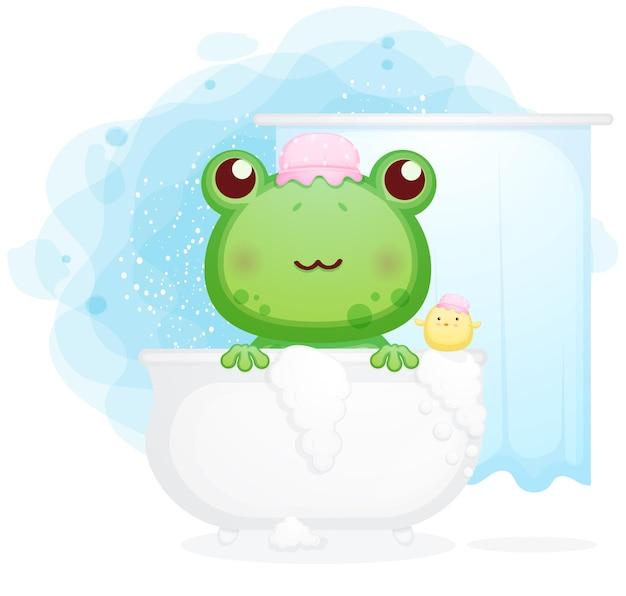 Netter frosch in der badewanne mit kükenkarikaturillustration