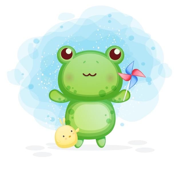 Netter frosch mit küken, die windmühlenkarikaturillustration spielen