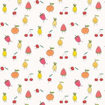 Netter frucht-muster-hintergrund.