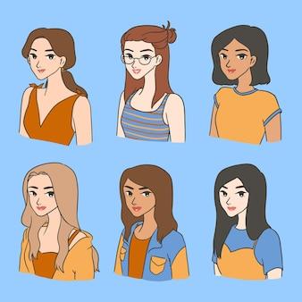 Netter frühlingsmädchen-mode-avatar-satz