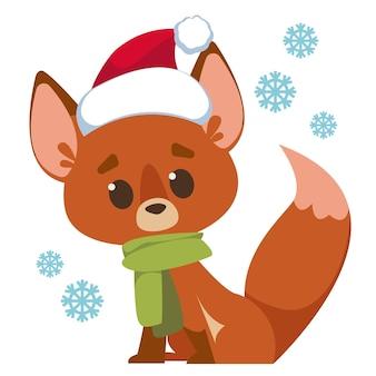 Netter fuchs in weihnachtsmütze und schneeflocken vektor-illustration im stil der cartoon-kinder isolierter spaß