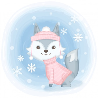 Netter fuchs mit schneeflockenkarikaturillustration