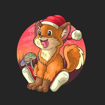 Netter fuchs mit weihnachtsmütze, der mit herausgestreckter zunge cartoon-illustrationsdesign auf schwarzem hintergrund lächelt