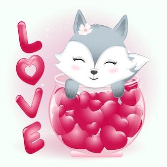 Netter fuchs und herz in der valentinstagillustration des glases