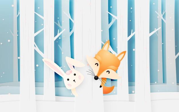 Netter fuchs und kaninchen im holz mit papierkunst reden pastellentwurfs-vektorillustration an