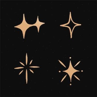 Netter funkelt goldener galaxie-gekritzelillustrationsaufkleber