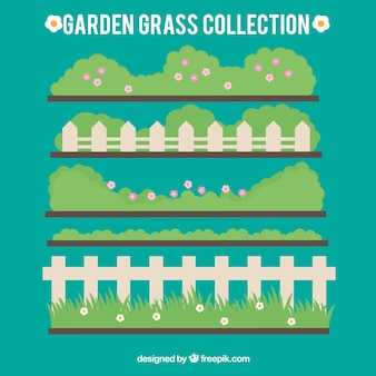 Netter garten gras mit zäunen