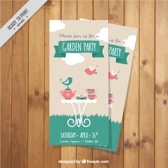 Netter garten-party-flyer mit einer teekanne
