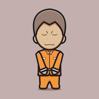 Netter gefangener charakter mit handschellen cartoon vektor icon illustration. bösewicht symbol konzept isoliert vektor. flacher cartoon-stil