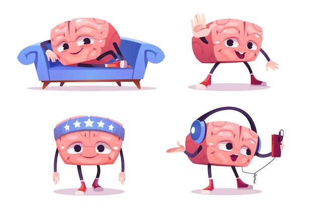 Netter gehirncharakter in verschiedenen posen. set cartoon chat bot, lustige menschliche gehirn entspannen auf dem sofa, sporttraining und musik in kopfhörern hören. kreatives emoji-set, intelligentes maskottchen