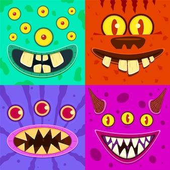 Netter gehörnter verrückter kobold und schleimiger gremlin, gruselige aliens