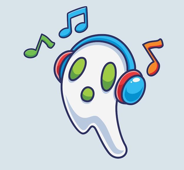 Netter geist, der die musik mit kopfhörern hört isolierte cartoon-halloween-illustration flat style
