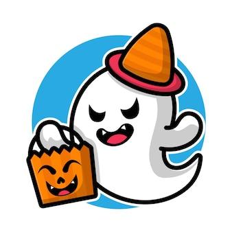 Netter geist, der süßigkeitskorb-kürbiskarikaturillustrations-halloween-konzept hält