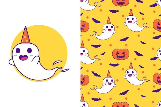 Netter geist mit kürbis glückliches halloween mit nahtlosem muster