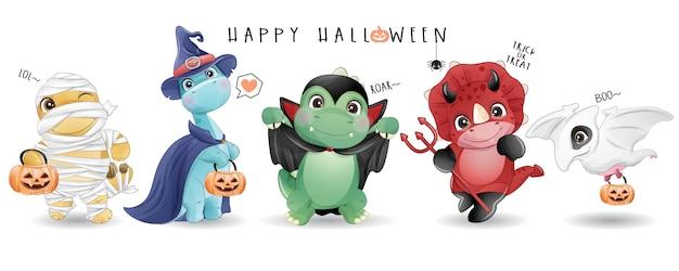 Netter gekritzel-dinosaurier für halloween-tag mit aquarellillustration