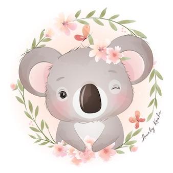 Netter gekritzel-koalabär mit blumenillustration