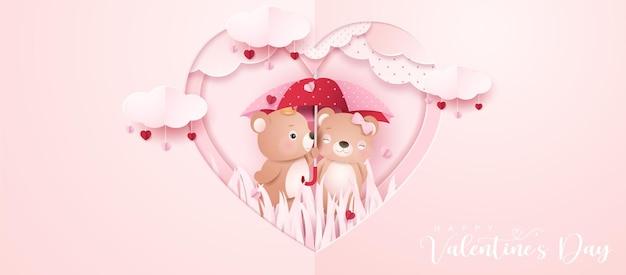 Netter gekritzelbär für valentinstag im papierartbanner