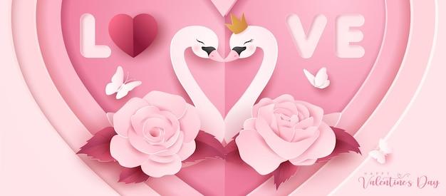 Netter gekritzelbär für valentinstag im papierstil