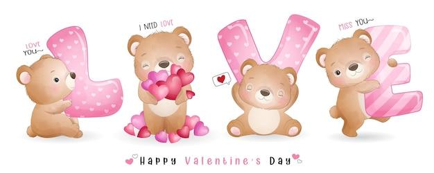 Netter gekritzelbär für valentinstagssammlung