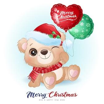 Netter gekritzelbär für weihnachtstag mit aquarellillustration