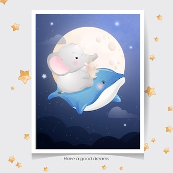 Netter gekritzelelefant und kleiner hase mit aquarellillustration