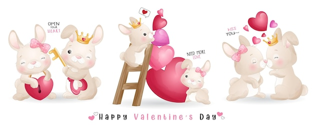 Netter gekritzelhase für valentinstagssammlung