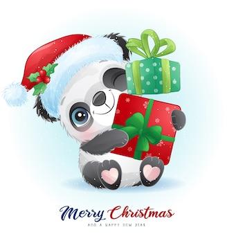 Netter gekritzelpanda für weihnachtstag mit aquarellillustration