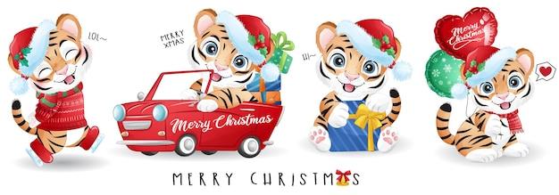 Netter gekritzeltiger für illustrationssatz der frohen weihnachten