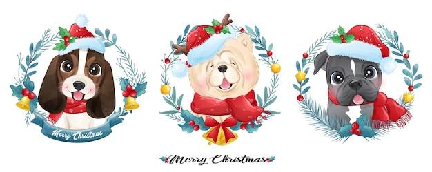 Netter gekritzelwelpe für weihnachten mit aquarellillustration