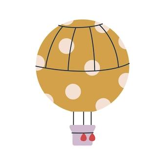 Netter gelber runder transportballon. vektordruck für kinder. flug in den himmel. kinderkunst clipart isoliert. minimalismus für das kinderzimmer oder print kids