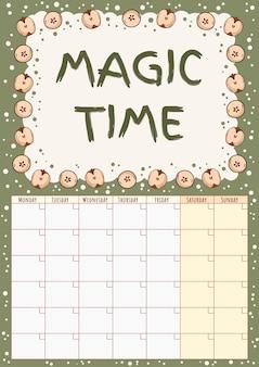 Netter gemütlicher hygge monatskalenderplaner der magischen zeitaufschrift mit apfeldekor