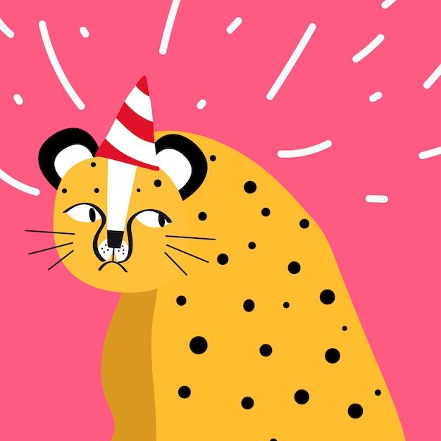 Netter gepard, der einen partyhutvektor trägt