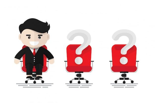 Netter geschäftsmann, der auf rotem bürostuhl sitzt