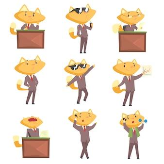 Netter geschäftsmann-fuchscharakter bei der arbeit und ruhe, lustige katze in verschiedenen situationen stellte karikatur bunte illustrationen ein